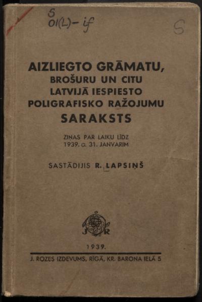 Aizliegto grāmatu, brošūru un citu Latvijā iespiesto poligrāfisko ražojumu saraksts