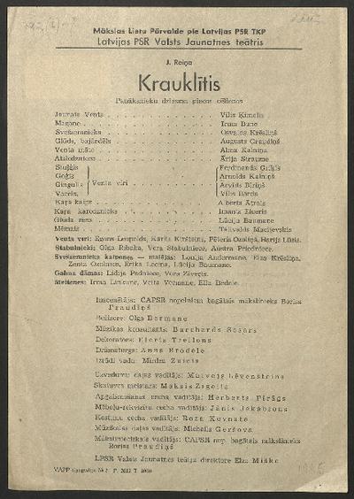 Krauklītis : J. Raiņa panāksnieku dziesma piecos cēlienos : LPSR Valsts Jaunatnes teātris, [1945. g.]