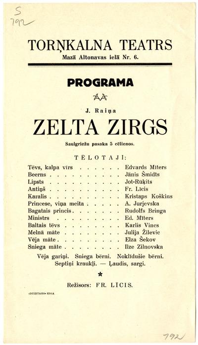 Zelta zirgs : J. Raiņa saulgriežu pasaka 5 cēlienos : Torņkalna teatrs : programma