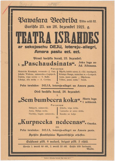 Pawasara beedriba sarihko 25. un 26. dezembrī 1921. g. teatra izrahdes ar sekojoschu deju, lotereju-allegri, Amora pastu ect. : [afiša]