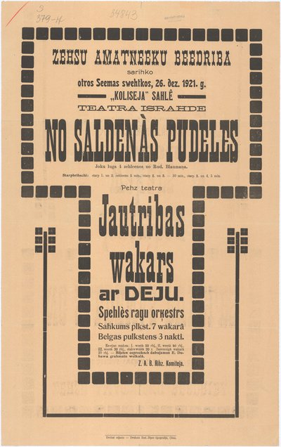 Zehsu Amatneeku beedriba sarihko Otros Seemas swehtkos, 26. dez. 1921. g. : teatra israhde No saldenās pudeles : joku luga 4 zehleenos no Rud. Blaumaņa : [afiša]