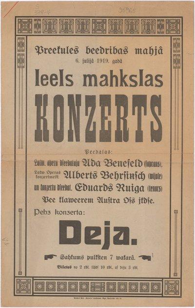 Preekules beedribas mahjā 6. julijā 1919. gadā leels mahkslas Konzerts : [afiša]