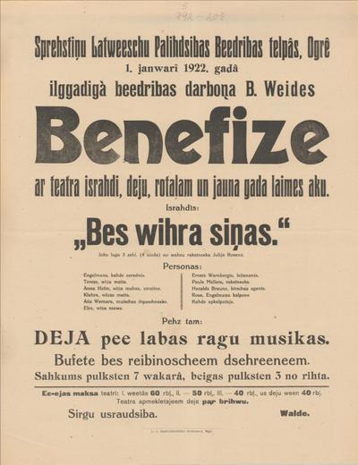 Sprēstiņu Latviešu Palīdzības Biedrības telpās, Ogrē 1. janvārī 1922. gadā ilggadīgā biedrības darboņa B. Weides Benefize ar teātra izrādi, deju Izrādīs Bez vīra ziņas