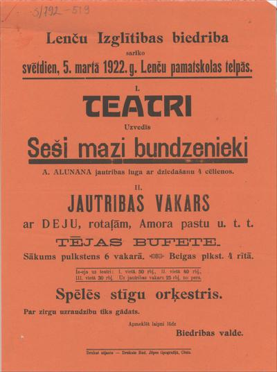 Lenču Izglītības biedrība sarīko 5. martā 1922. g. teātri Uzvedīs Seši mazi bundzenieki