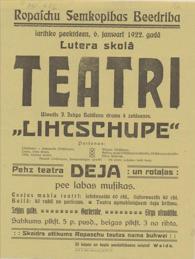 Ropažu Zemkopības Biedrība sarīko 6. janvārī 1922. gadā teātri Uzvedīs Līčupe