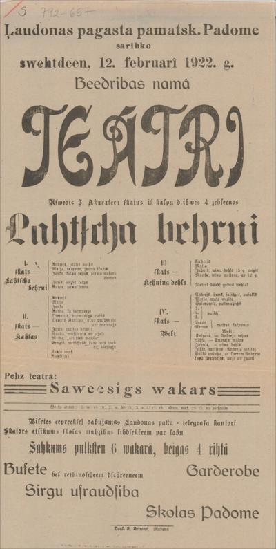 Ļaudonas pagasta pamatsk. Padome sarīko 12. februārī 1922. g. teātri Uzvedīs Lāča bērni