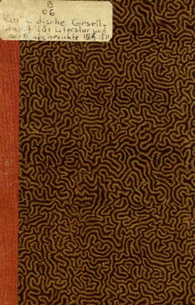 Sitzungsberichte der Kurländischen Gesellschaft für Literatur und Kunst. 1884