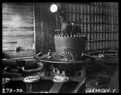 Ķeguma spēkstacijas turbīnas montāža. 1938.gads
