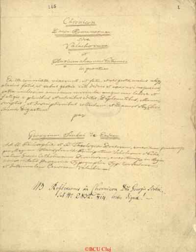 Chronicon daco-romanorum sive valachorum et plurium aliorum nationum in quantum