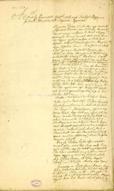 A székely nemzetről 1533-ban költ, most deákból magyarra fordított kézirásra tett világosító jegyzések : [jegyzetek a Csíki Székely Krónikához]