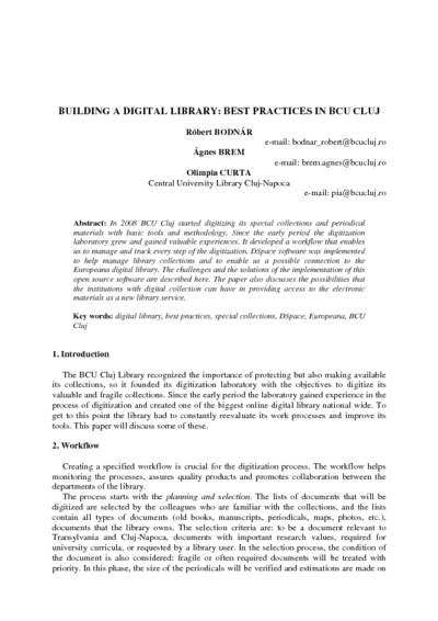 Building a digital library: best practices in BCU Cluj