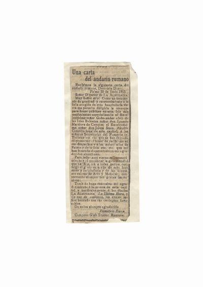 "Fragment de ziar ""La Almudaina"" ce contine informatii despre Dumitru Dan"