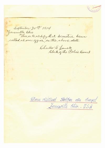 Document prin care se atesta vizita lui Dumitru Dan prin Zanesville, Ohio