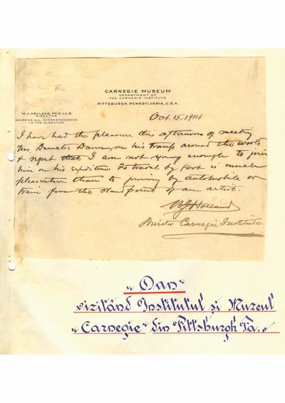 Document prin care se atesta vizita lui Dumitru Dan prin Pittsburgh, Pennsylvania