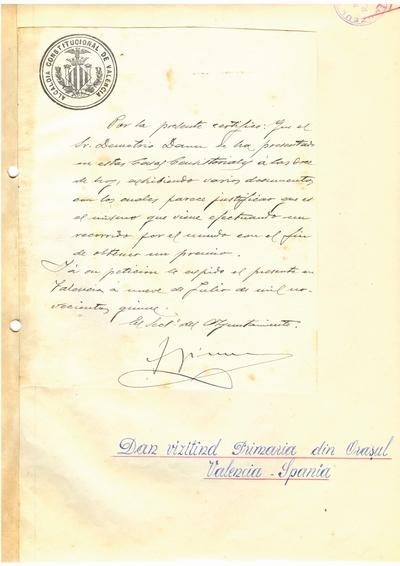 Document prin care se atesta vizita lui Dumitru Dan prin Valencia