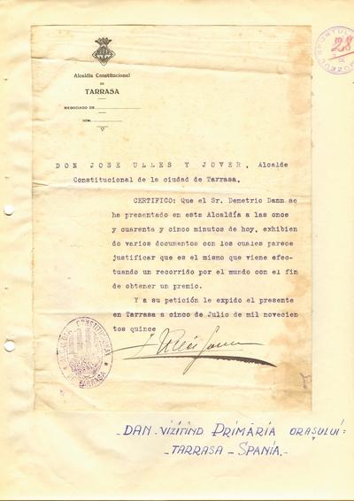 Document prin care se atesta vizita lui Dumitru Dan prin Tarrasa