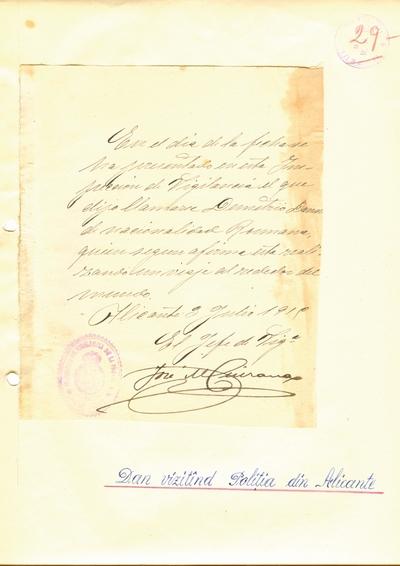Document prin care se atesta vizita lui Dumitru Dan la Politia din Alicante