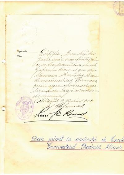 Document prin care se atesta vizita lui Dumitru Dan la Guvernatorul Provinciei Alicante