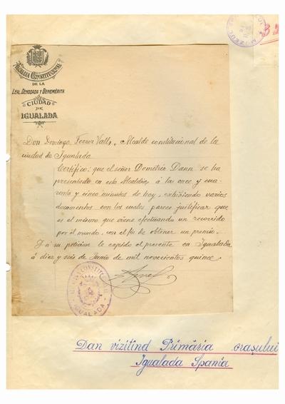 Document prin care se atesta vizita lui Dumitru Dan la Primaria din Igualada