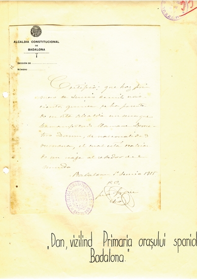Document prin care se atesta vizita lui Dumitru Dan prin Badalona