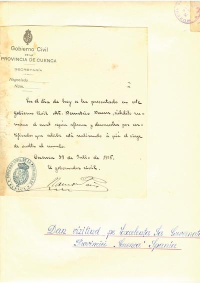 Document prin care se atesta vizita lui Dumitru Dan prin Provincia de Cuenca