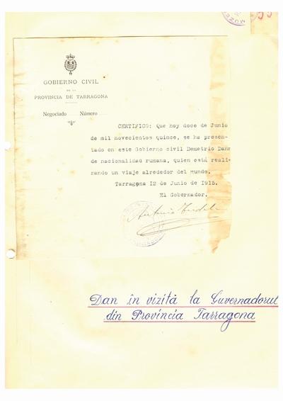Document prin care se atesta vizita lui Dumitru Dan prin Provincia de Tarragona
