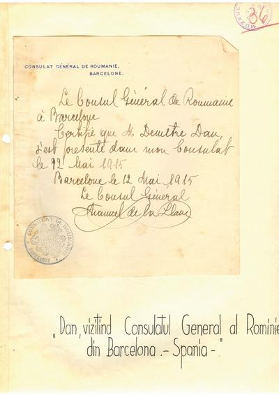 Document prin care se atesta vizita lui Dumitru Dan la Consulatul General al Romaniei din Barcelona