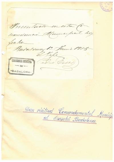 Document prin care se atesta vizita lui Dumitru Dan prin Badalona la Comandamentul Municipal