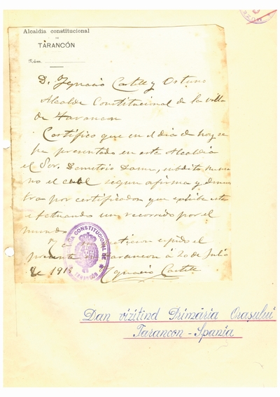 Document prin care se atesta vizita lui Dumitru Dan prin Tarancón