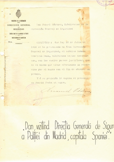 Document prin care se atesta vizita lui Dumitru Dan prin Secretaria, provincial Madrid