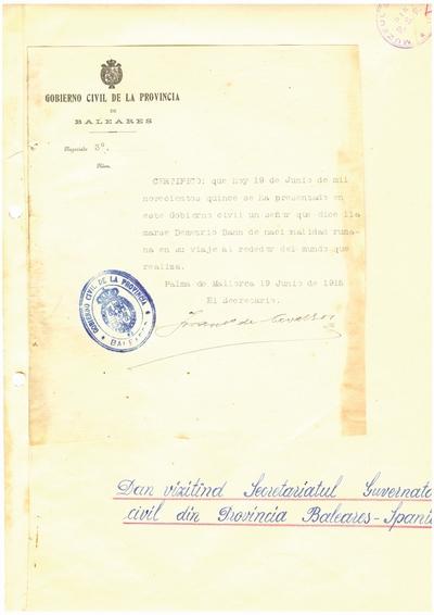 Document prin care se atesta vizita lui Dumitru Dan prin Baleares