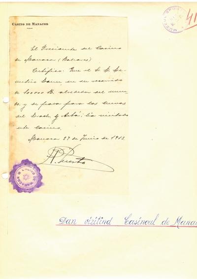 Document prin care se atesta vizita lui Dumitru Dan prin Baleares Casino de Manacor
