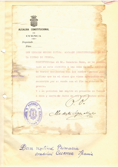 Document prin care se atesta vizita lui Dumitru Dan prin Cuenca