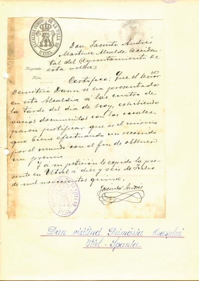 Document prin care se atesta vizita lui Dumitru Dan prin Villa de Utiel