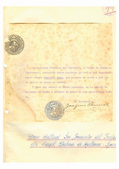 Document prin care se atesta vizita lui Dumitru Dan prin Palma de Mallorca