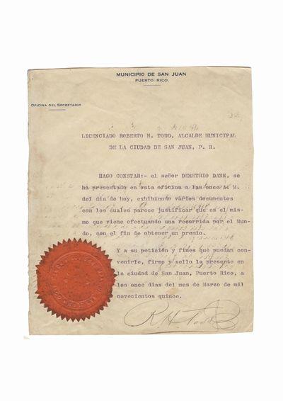 Document care atesta vizita lui Dumitru Dan la Primaria municipiului San Juan
