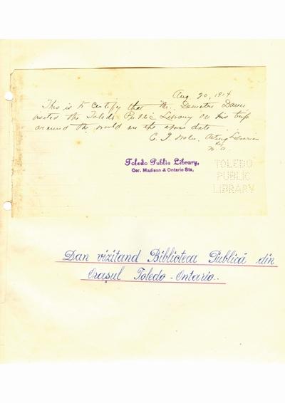 Document prin care se atesta vizita lui Dumitru Dan pe la Biblioteca Publica din Ontario (Toledo)