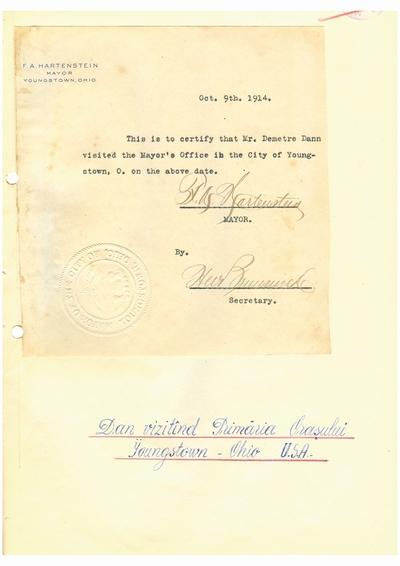 Document prin care se atesta vizita lui Dumitru Dan prin Youngstown, Ohio