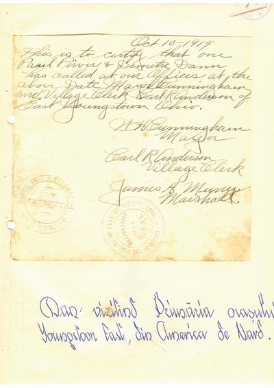 Document prin care se atesta vizita lui Dumitru Dan prin Youngstown East, Ohio