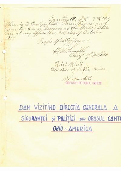Document prin care se atesta vizita lui Dumitru Dan prin Canton, Ohio