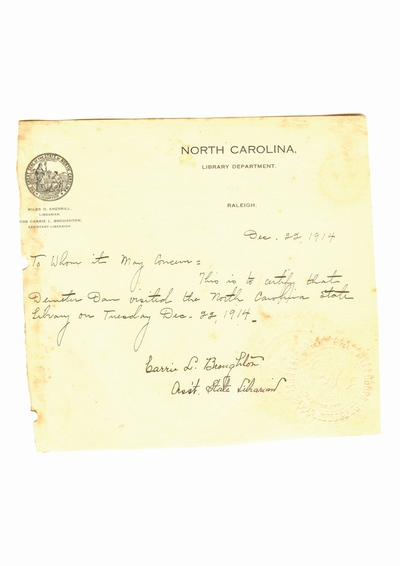 Document prin care se atesta vizita lui Dumitru Dan prin North Carolina