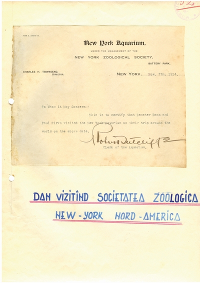 Document prin care se atesta vizita lui Dumitru Dan prin New York Aquarium