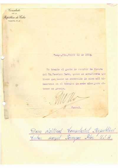 Document prin care se atesta vizita lui Dumitru Dan prin Tampa, Florida