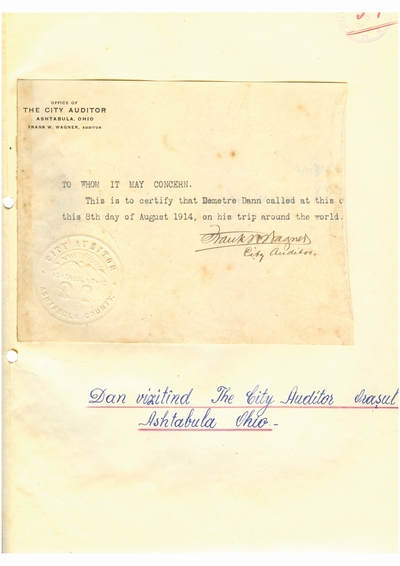 Document prin care se atesta vizita lui Dumitru Dan prin Ashtabula, Ohio