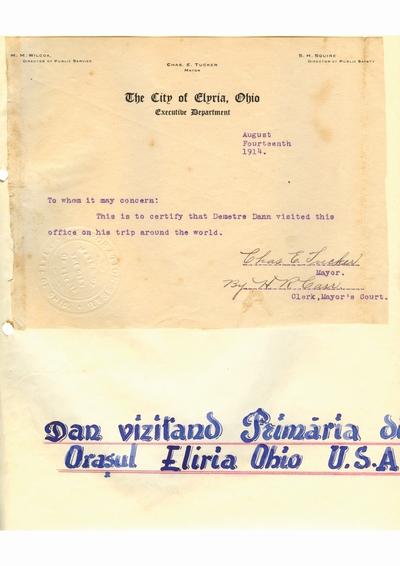 Document prin care se atesta vizita lui Dumitru Dan prin Elyria, Ohio