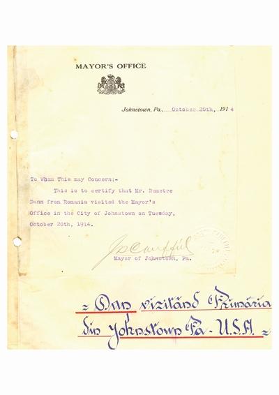 Document prin care se atesta vizita lui Dumitru Dan prin Johnstown, Pennsylvania