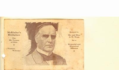 Carte postala ilustrand Casa Memoriala McKinley din Mount Vernon, Ohio; i-a apartinut lui Dumitru Dan