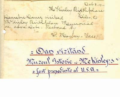 """Document prin care se atesta vizita lui Dumitru Dan la Muzeul de Istorie si memorial """"Mckinley' s birthplace, din               Mount Vernon, Ohio; i-a apartinut lui Dumitru Dan"""