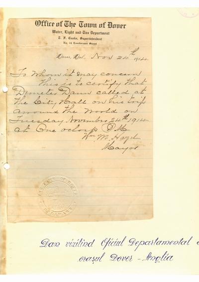 Document prin care se atesta vizita lui Dumitru Dan prin Dover, Delaware