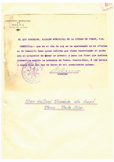 Document prin care se atesta vizita lui Dumitru Dan prin Ciudad de Ponce